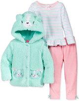 Nannette Baby Girls' 3-Pc. Faux Fur Cat Hoodie, Top & Velour Leggings Set