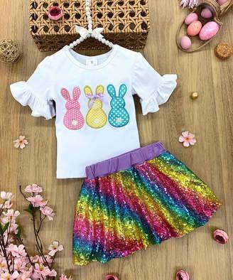 Mia Belle Girls Girls' Casual Skirts Rainbow - White Dot Bunny Bell-Sleeve Top & Rainbow Sequin Skirt - Infant, Toddler & Girls
