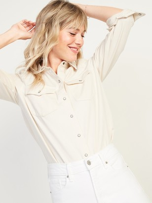 Old Navy Relaxed Western Off-White Jean Shirt for Women