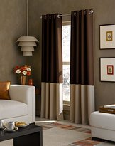 Curtainworks Kendall Color Block Grommet Curtain Panel, 108 inch, Chocolate
