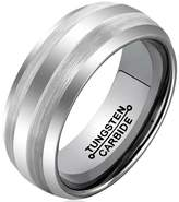 KnBoB Tungsten Carbide Brushed Center Finish Beveled Edge Polished 8mm Men's Wedding Band Ring Size 7