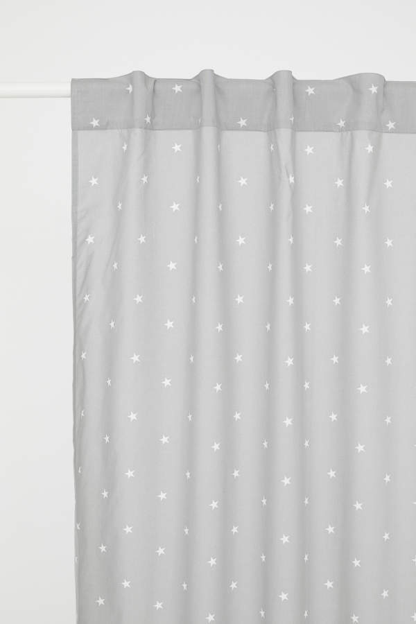 H&M Patterned Curtain Panel - Gray/stars