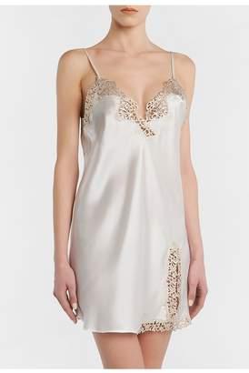 La Perla Metal Macrame Off-White Silk Slip With Gold Macrame