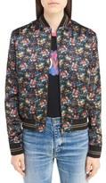 Saint Laurent Women's Teddy Floral Satin Bomber Jacket