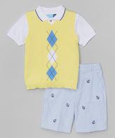 Good Lad Yellow Argyle Sweater Vest Set - Infant Toddler & Boys