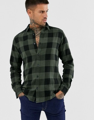 ONLY & SONS slim shirt in khaki brushed check cotton-Green