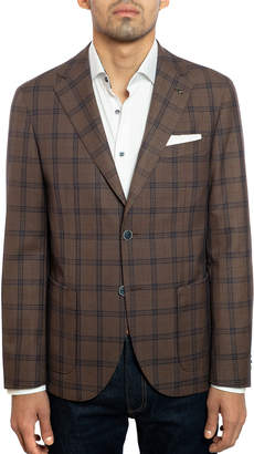 Joe's Jeans Men's Slim-Fit Windowpane Check Sport Coat with Elbow Patches