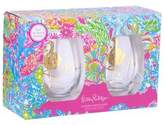 Lilly Pulitzer Set of Two Flamingle Stemless Wine Glasses