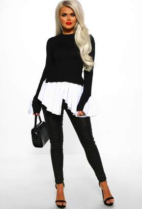 Pink Boutique What's Knit To Love Black Long Sleeved Knit Jumper With Shirt