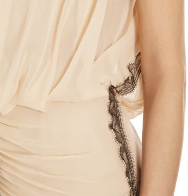 J. Mendel Chantilly Lace Trimmed Gown