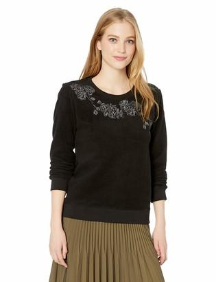 Lucky Brand Women's Fleece Floral Pullover Sweater