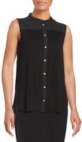 Calvin Klein Pleated Button-Front Shirt