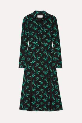Les Rêveries Floral-print Silk-crepe Midi Dress - Black