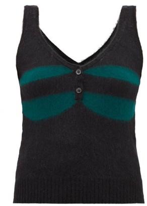Marni Striped Knitted Wool-blend Tank Top - Womens - Black Green