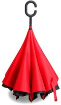Zomtop Innovative Inverted Umbrella Double Layer Upside Down Umbrella Rain Water Collected Environmental Bumbershoot(Black+Red)