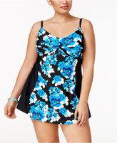 Island Escape Plus Size Floral Drift Twist-Front Swimdress