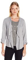 Alfred Dunner Women's Petite Stripe 3fer Knit with Necklace