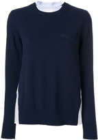 Sacai Ribbed Wool-Blend and Plissé Poplin Sweater
