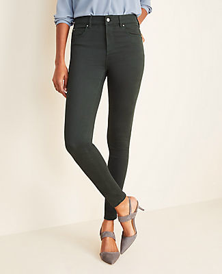 Ann Taylor Curvy Sateen High Rise Performance Stretch Skinny Jeans in Dark Tea Green