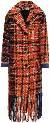 Marni Satin-trimmed Fringed Checked Wool-blend Boucle-tweed Coat