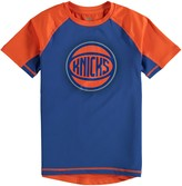 Outerstuff Youth Blue/Orange New York Knicks Color Block Rash Guard T-Shirt