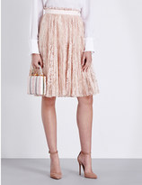 Alexander McQueen Pleated floral-lace skirt