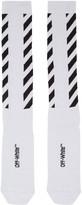 Off-White Silver Diagonal Shiny Socks
