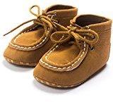 Binmer(TM) New Baby Crib High Help Bandage Shoes Toddler Sneakers Casual Non-slip Shoes (6-12M, Khaki)