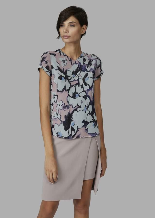 Giorgio Armani Short-Sleeve Pleated Crepe Blouse With Flowers