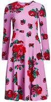 Lela Rose Crepe Rose Print Panel Dress