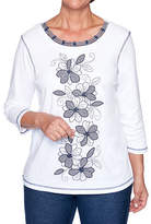 Alfred Dunner Road Trip-Womens Crew Neck 3/4 Sleeve T-Shirt