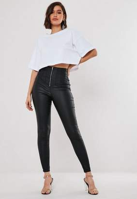 Missguided Black Coated Corset High Waisted Jeans