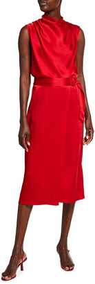 Sally LaPointe Draped Satin Belted Dress