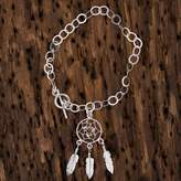 Sterling Silver Dream Catcher Pendant Bracelet from Mexico, 'Pleasant Dreams'