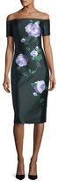 Lela Rose Floral Off-Shoulder Mikado Dress