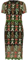 River Island Womens Black double layer embroidered mesh dress