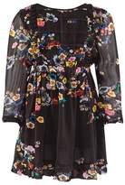 Mini Preen Black Multi Floral Dress With Gathered Waist