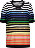 Sonia Rykiel Embellished striped silk and cotton-blend top