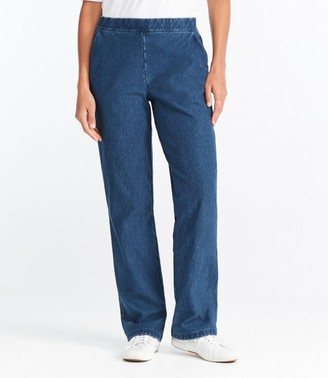 L.L. Bean L.L.Bean Women's Perfect Fit Pants, Fleece-Backed Straight-Leg Denim