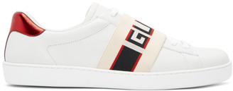 Gucci White New Ace Elastic Band Sneakers