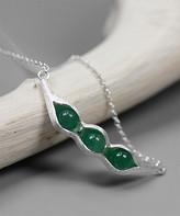 Lotus Fun Women's Necklaces SILVER - Aventurine & Sterling Silver Peas In A Pod Pendant Necklace