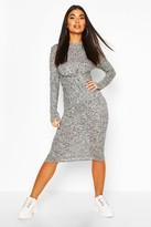 boohoo Petite Knitted Rib Knot Front Midi Dress