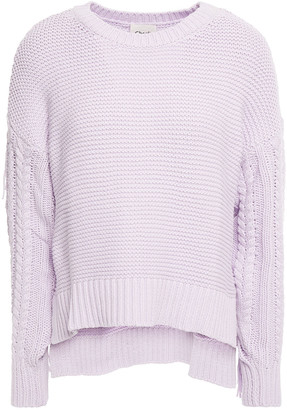 Charli Daphne Fringed Ribbed And Cable-knit Cotton Sweater