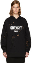 Givenchy Black Destroyed Logo Hoodie