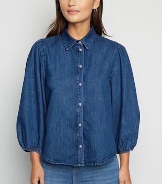 New Look Petite Puff Sleeve Denim Shirt