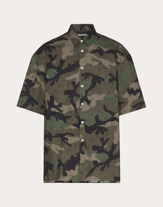 Valentino H/s Shirt With Vlogo Signature Print Man Military Green 37