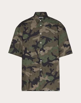 Valentino Short-sleeve Shirt With Vlogo Print Man Military Green 37