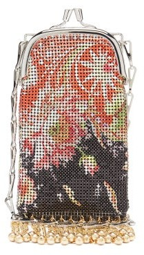 Paco Rabanne Pixel Mini Floral-print Fringed Chainmail Bag - Red Multi
