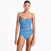 J.Crew Convertible one-piece swimsuit in Italian puckered plaid
