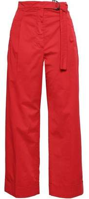 Brunello Cucinelli Belted Pleated Stretch-cotton Culottes